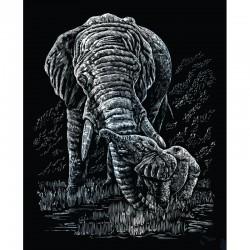 Carte à gratter 20,3x25,4cm argent. Elephant et bébé