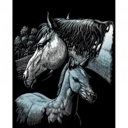 Engraving art.20,3x25,4cm silver. Horses
