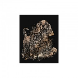 Engraving art.20,3x25,4cm copper. Cat&kitten
