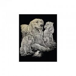 Engraving art.20,3x25,4cm gold. Golden Retriever&Puppies