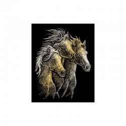 Engraving art.20,3x25,4cm gold. Horses