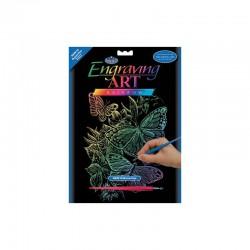 Engraving art.20,3x25,4cm rainbow butterflies