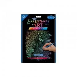 Engraving art.20,3x25,4cm rainbow peacock