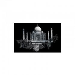 Carte à gratter 28,6x39cm argent Taj Mahal
