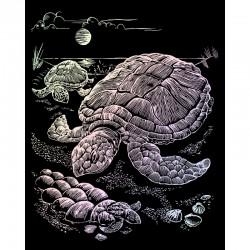 Engraving art.20,3x25,4cm Holographic Sea Turtle