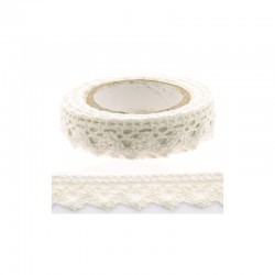 Adhesive Lace tape - 15mm x 2m border white