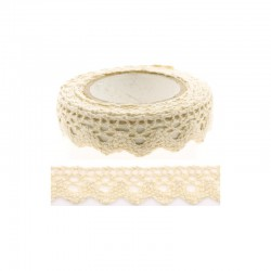 Adhesive Lace tape - 15mm x 2m border beige