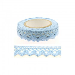 Adhesive Lace tape - 15mm x 2m border blue