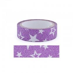 Adhesive glitter tape - 15mm x4m star purple
