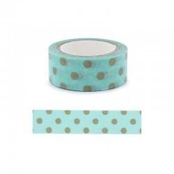 Washi Tape - 15mm x 5m pois fond bleu