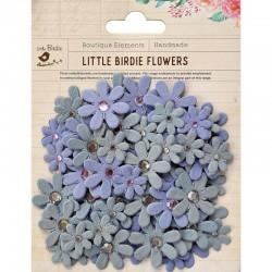 Assort. Paper flowers glitter & rhinestone plum (80 pcs)