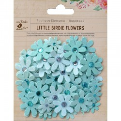 Assort.Paper flowers glitter & rhinestone turquoise (80 pcs)
