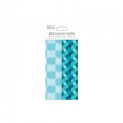Decoupage Paper - Aqua Geometric - 18,8x35cm x 4sh. (2x2 designs)