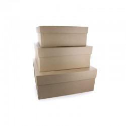 Set 3 square boxes 230x230x100mm