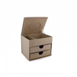 Cardboard jewellery box 2 drawers 130x100x105mm