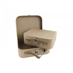 Set of 2 papier maché suitcases 28x23x9,5cm
