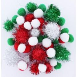 Assort. Pompon 2cm/2,5cm/3,5cm Christmas (50 pcs)
