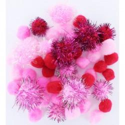 Assort. Pompon 2cm/2,5cm/3,5cm Pink (48 pcs)