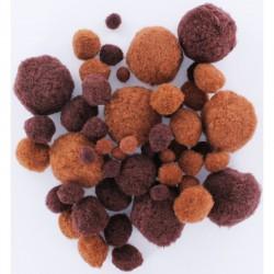 Assort. Pompon 1cm/1,5cm/2cm/2,5cm/4cm Brown (50 pcs)