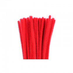 Chenilles 6mm 30cm, 50pcs red