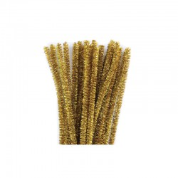 Chenilles metallic 6mm 30cm, 25pcs gold