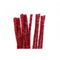 Chenilles metallic 6mm 30cm, 25pcs red