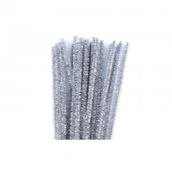 Chenilles metallic 6mm 30cm, 25pcs silver