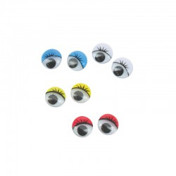 Wiggle eyes w/lid, 100pcs 10 mm assorted colours