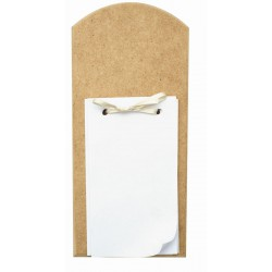 WOOD NOTE PAD WITH HANGER, RIBBON AND PAPER 90X200