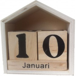 PERPETUAL CALENDAR IN FLEMISH 73X78X34MM - WOODEN HOUSE