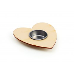 CANDLE-HOLDER HEART WOOD 100X120mm
