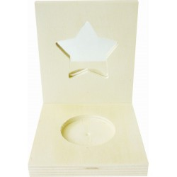 SQUARE CANDLE HOLDER WITH A STAR MIRROR IN WOOD 80x100x87mm