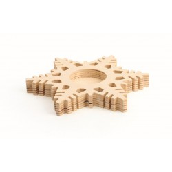 FROSTED SNOWFLAKE CANDLE HOLDER IN WOOD 150x150x18mm