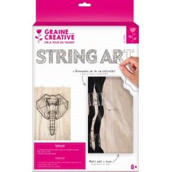 ELEPHANT STRING ART RECTANGULAR RAW BOARD IN WOOD 200x300x9mm