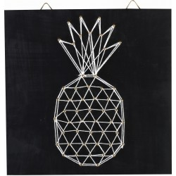 PINEAPPLE STRING ART MEDIUM SQUARE BLACK BOARD IN WOOD 220x220x9mm