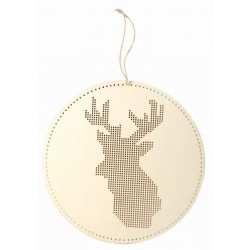 REINDEER HEAD HANGER TO BE EMBROIDERED IN WOOD LS 220x220x3mm