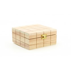 Wooden box with square motif 130mm x 130mm x 60mm