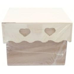 WOODEN SQUARE BOX W.HEART LID 65X65X50mm