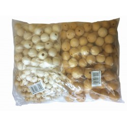 BAG OF 575 ASSORTED BEADS D.8/10/12/15/18/20/25 NATURAL WOOD