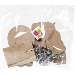 ASSORTMENT OF 10 WOODEN KEY RINGS