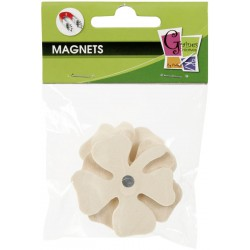 4 WOOD FORMS MAGNETS CLOVER 50mm