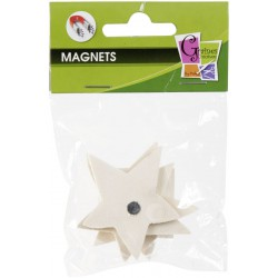 4 WOOD FORMS MAGNETS STAR 50mm