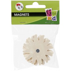 4 WOOD FORMS MAGNETS SUN 50mm