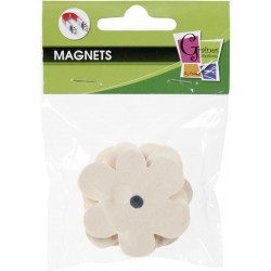4 WOOD FORMS MAGNETS FLOWER 50mm