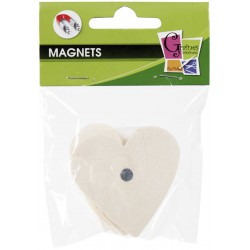 4 WOOD FORMS MAGNETS HEART 50mm
