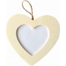 Hanging photo frame in wood 80mm x 105mm x 5mm - Heart