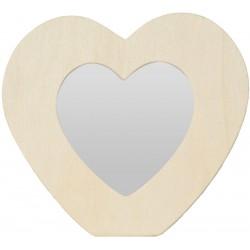 HEART MIRROR IN WOOD 142x130x10mm