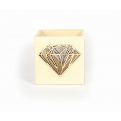 Wooden photophore 100mm x 100mm x 100mm - Diamond