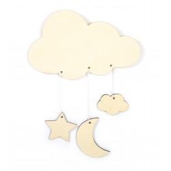Wooden mobile 250mm x 350mm x 10mm - Clouds