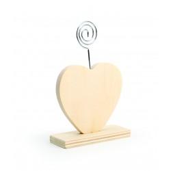 Wooden photo holder 90mm x 35mm x 130mm - Heart